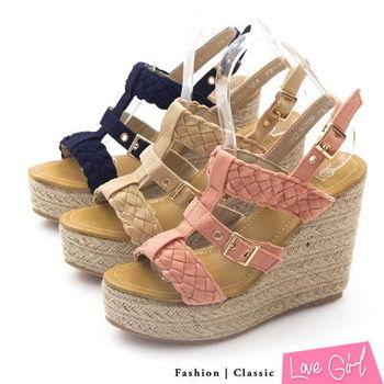 ☆Love Girl☆寬板編織金屬釦羅馬楔型涼鞋