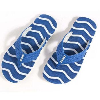 【333家居鞋】8017 波浪陽光夾腳拖鞋-藍色
