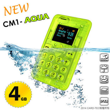 【CARD】CM1-AQUA 防水藍牙撥號名片型手機 (IPX8)