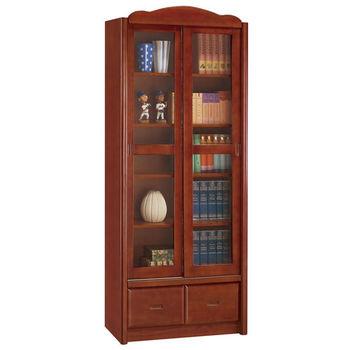 【時尚屋】[UZ5]楓原柚木色2.7尺推門書櫃840-5