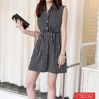I ^#45 Sego 百搭直紋鬆緊腰襯衫洋裝