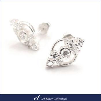 el 925銀飾 - 方晶鋯石純銀耳環 Symbol