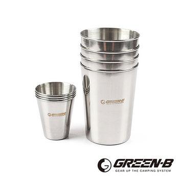 【GREEN-B】戶外野營不鏽鋼杯8件組(附收納袋)