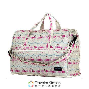 《Traveler Station》HAPI+TAS 摺疊圓形旅行袋(小)新款-226米色佛朗明哥鳥