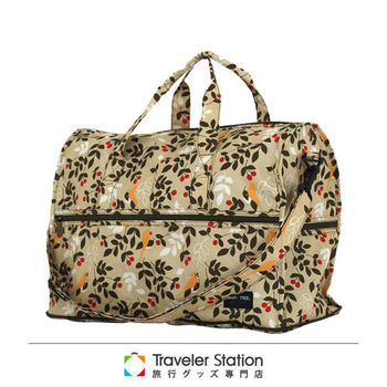 《Traveler Station》HAPI+TAS 摺疊圓形旅行袋(小)新款-222米色樹葉