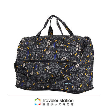 《Traveler Station》HAPI+TAS 摺疊圓形旅行袋(小)新款-221黑色樹葉
