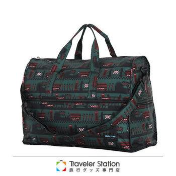 《Traveler Station》HAPI+TAS 摺疊圓形旅行袋(小)新款-219軍綠色倫敦風情