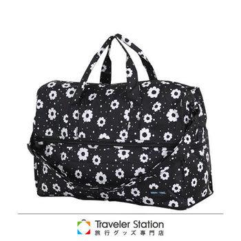 《Traveler Station》HAPI+TAS 摺疊圓形旅行袋(小)新款-184摩登花朵黑