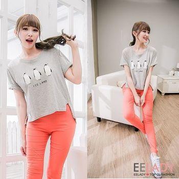 【EE-LADY】韓版冰島企鵝短版棉T-灰色