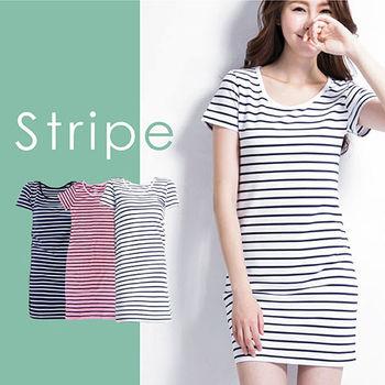 【Highly】舒棉彈性百搭條紋長版連身衫-三件組(S-XL)