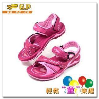 【G.P 快樂童鞋-舒適氣墊涼鞋】G5934B-45 桃紅色尺寸32-36共三色