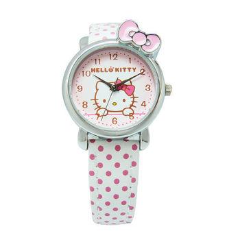 Hello Kitty 可愛俏皮蝴蝶結時尚造型腕錶-白色-KT012LWPW