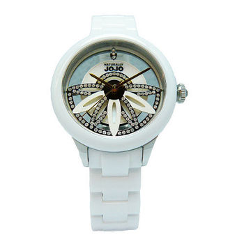 NATURALLY JOJO 翻轉愛情魔力時尚優質陶瓷腕錶-白-JO96856-81F