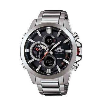 CASIO EDIFICE 全新藍牙商務人士智慧運動雙顯錶款-銀+黑-ECB-500D-1A