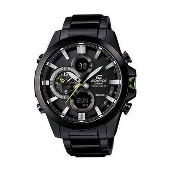 CASIO EDIFICE 全新藍牙商務人士智慧運動雙顯錶款-黑-ECB-500DC-1A