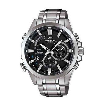 CASIO EDIFICE 全新藍牙商務人士智慧運動錶款-銀+黑-EQB-510D-1A