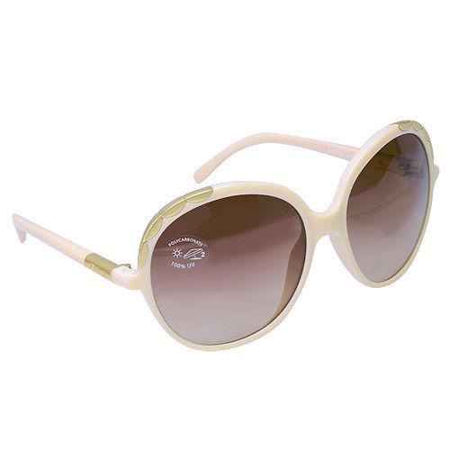 Chloe 復古大圓框金屬鑲嵌抗UV太陽眼鏡(米色)