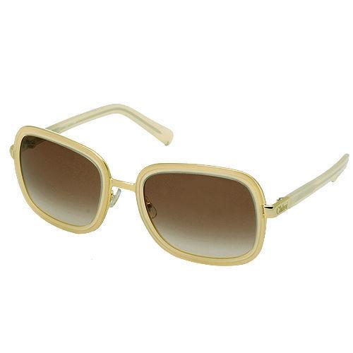 Chloe 金屬金邊方框漸層鏡面抗UV太陽眼鏡(金色)