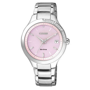 【CITIZEN】L 粉漾恬靜 水鑽光動能時尚腕錶-35mm/粉(EO1150-59W)