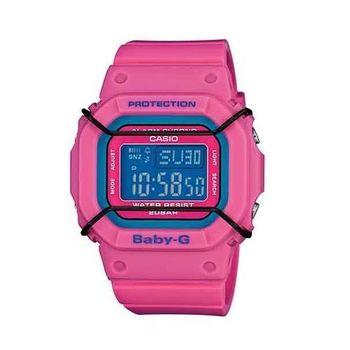 BABY-G 復古時尚風潮輕巧造型運動腕錶-粉紫x桃紅 x 黑-BGD-501-4