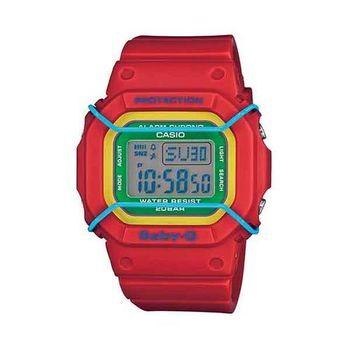 BABY-G 復古時尚風潮輕巧造型運動腕錶-紅x綠 x 藍-BGD-501-4B
