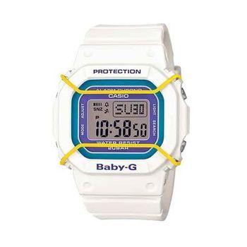 BABY-G 復古時尚風潮輕巧造型運動腕錶-白x紫x黃-BGD-501-7B