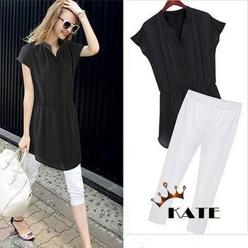 【KATE】小V領俐落休閒兩件式套裝K024(百搭黑白)