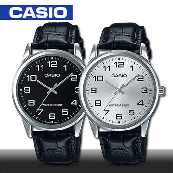 【CASIO 卡西歐】皮革錶帶_數字男錶_鏡面3.8公分(MTP-V001L)