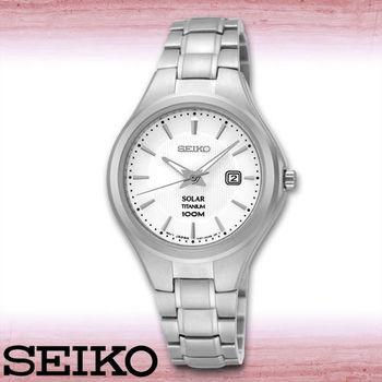 【SEIKO 精工】鈦金屬錶帶_太陽能石英女錶_錶殼3.1公分(SUT199P1)