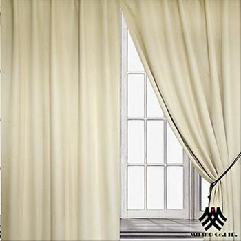 【M.B.H】米蘭風情半腰遮光穿掛窗簾(米)(270*165cm)