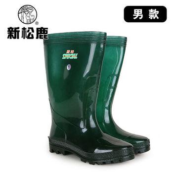 【新松鹿】男款耐油抗滑防水靴(透明綠)