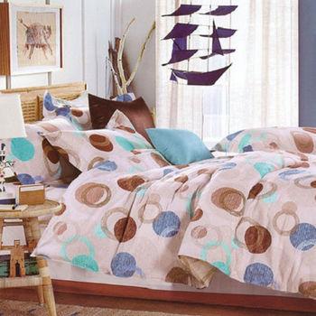 【法式寢飾花季】時尚典藏-加大精梳全棉舖棉兩用被床包組(舞動印象6*6.2尺)