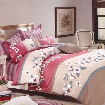 【法式寢飾花季】時尚典藏-加大精梳全棉舖棉兩用被床包組(吉娜風情6*6.2尺)