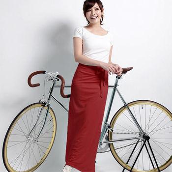 【遊遍天下】MIT台灣製防曬吸排涼感多功能一片裙(加大)酒紅