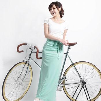【遊遍天下】MIT台灣製防曬吸排涼感多功能一片裙(加大)淺水綠