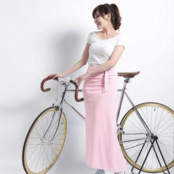 【遊遍天下】MIT台灣製防曬吸排涼感多功能一片裙(加大)粉紅