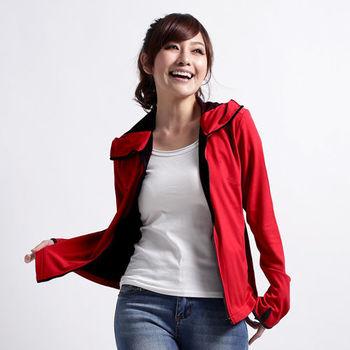 【遊遍天下】MIT台灣製吸濕排汗透氣抗UV連帽露指機能外套(大紅)