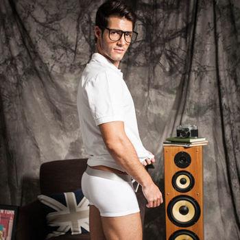 【Sexii Hippo】清新白性感中腰彈力貼身內褲(男8430平口褲)