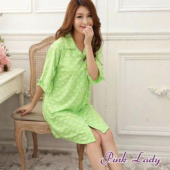【PINK LADY】寬松大版襯衣BF風短袖棉襯衫居家睡衣(綠)