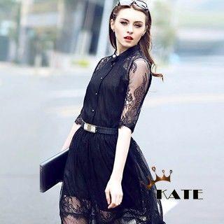 現貨+預購【KATE】蕾絲透膚氣質高貴歐美時尚洋裝K001(高貴黑)