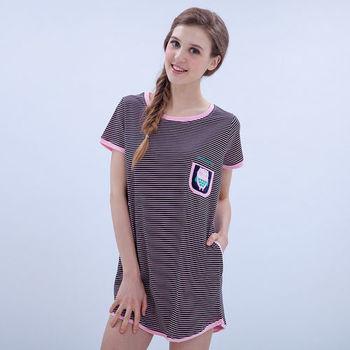 【MFN蜜芬儂】100%純棉 可愛貓頭鷹休閒居家短袖洋裝睡衣