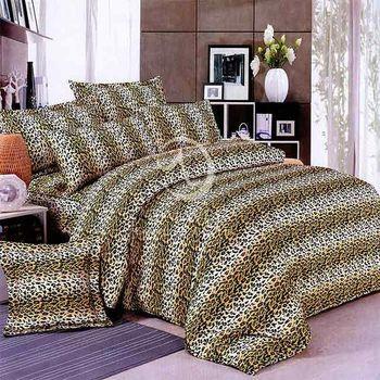 【卡莎蘭】豹紋雄風 加大四件式二用被床包組