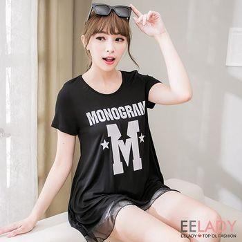 【EE-LADY】M字母拼接雪紡短袖T-黑色