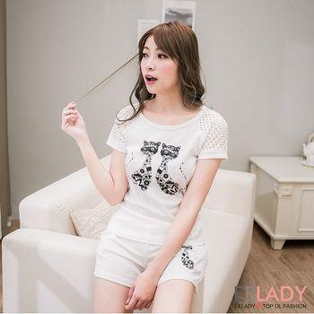 【EE-LADY】貓咪短網袖+口袋短褲套裝-白色