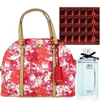 【COACH】夏日花色手提斜背貝殼包+GUCCI 女性淡香水+SK-II 賦活精粹1mlx20