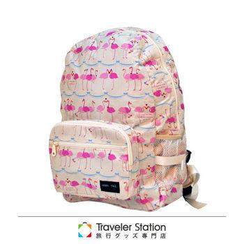 《Traveler Station》HAPI+TAS 摺疊後背包 新款-226米色佛朗明哥鳥