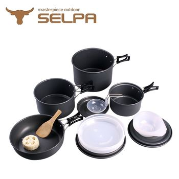【韓國SELPA】戶外不沾鍋設計鋁合金鍋具家庭豪華組/旅行/露營