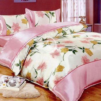 【卡莎蘭】花之情 雙人絲緞四件式二用被床包組