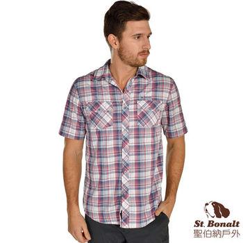 【聖伯納 St.Bonalt】男-3M吸濕排汗快乾短袖格子襯衫-紅色格子(4054)