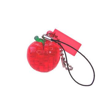《3D 立體水晶拼圖》紅蘋果迷你吊飾
